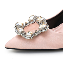 Women's Diamonds Closed Pointed Toe Slip On Stilettos Dress Wedding High Heel Pumps Shoes