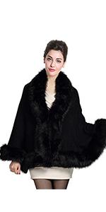 mantella poncho con cappuccio in pelliccia sintetica