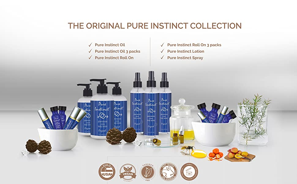Pure Instinct Pheromone Oil Body Lotion Spray Roll On Collection