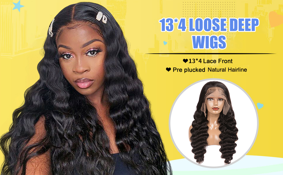 13*4 loose deep wig human hair
