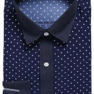 LEOCLOTHO Hombre Camisa de Manga Larga Slim Fit Estrellas Impresas Cómodo Camisas para Negocios Boda Ocio