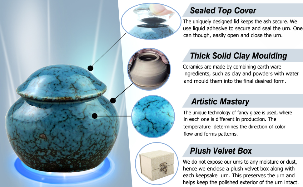 Ceramics Cremation Urns for Human Ashes Adult Display Burial Urn at Home or Office Fambe Blue Ocean Baby Urn Meilinxu Memorials JN-MLX-TC034S Fits a Small Amount of Cremated Remains Mini Keepsake Funeral Urn Hand Engraved