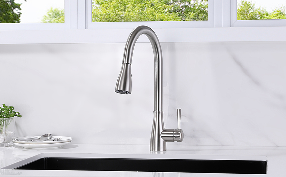 brushed nickel kitchen sink faucet with pull down sprayer single handle 1 hole 15 16 inch high arc