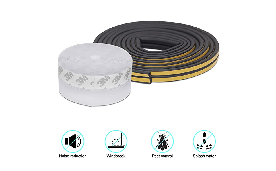 Horuhue 16.4FT Transparent Door Strip Bottom Weather Stripping for Doors Silicone Sealing Sticker Adhesive for 0-15MM Doors and Windows Gaps Width 25mm Silicone Seal Strip