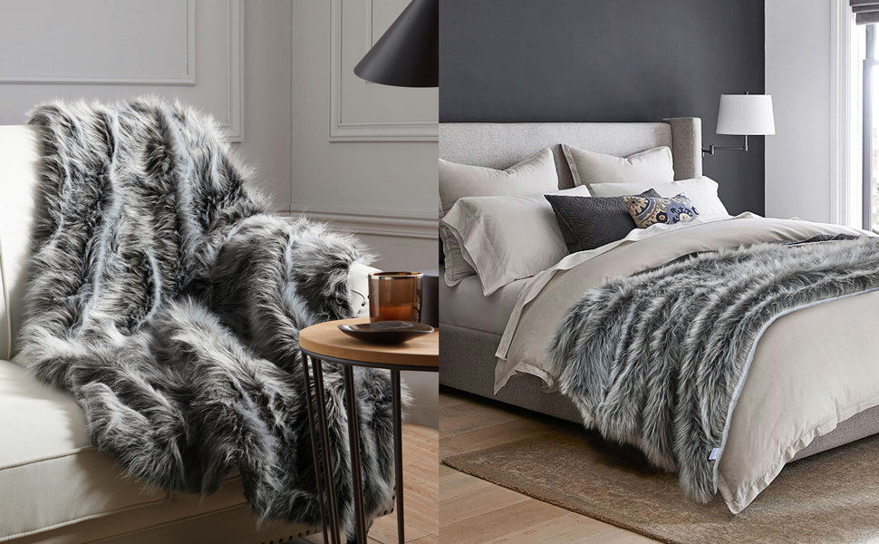 Luxury Faux Fur Throw for Sofas and Beds Black Fur Throw
