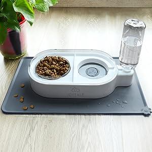 cat food mat with water dispenser