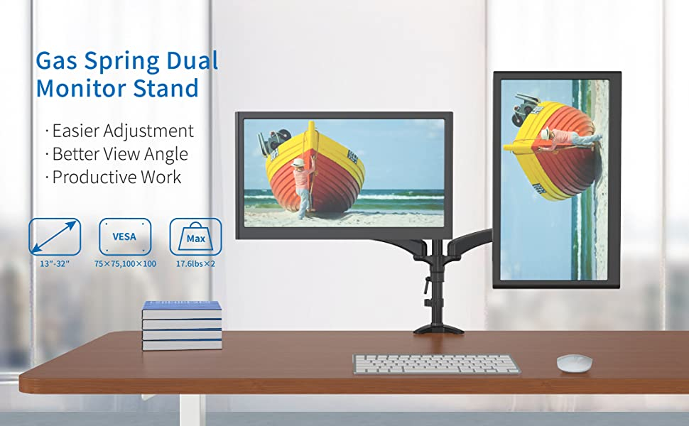 Shoppingall Fully Adjustable Dual Gas Spring Lcd Monitor Arm Desk Mount Stand With 2 Swing Arms For Two 15 32 Monitors Both Desk Clamp And Grommet Mounting Options In The Box Sa Gm124d