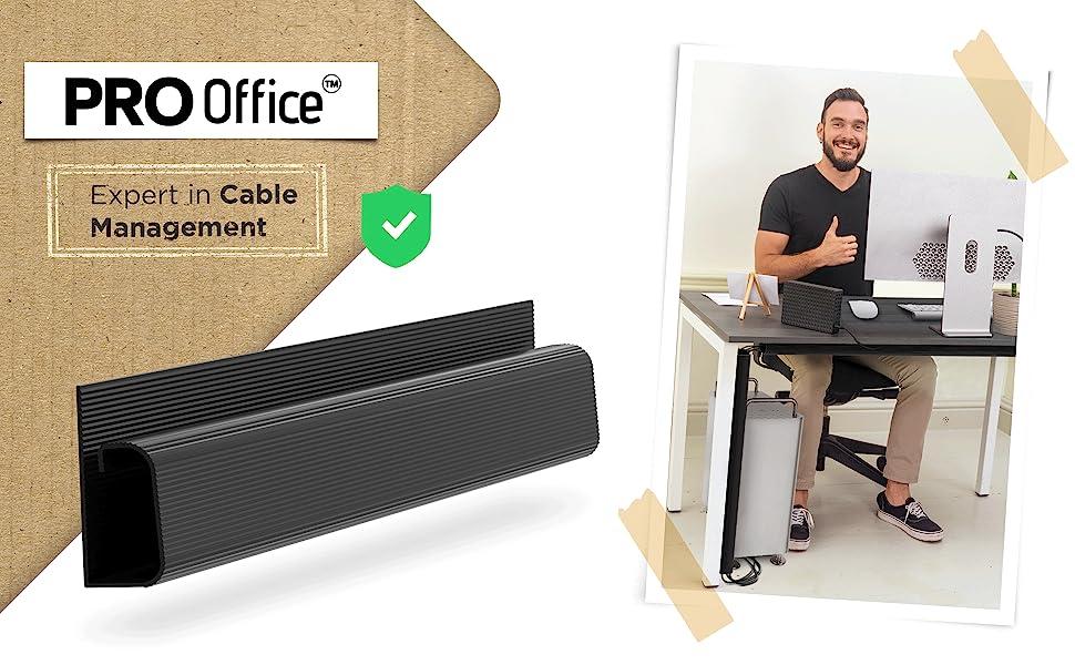 Pro Office J Channel Cable Raceway Black cleans the cable mess under your desk