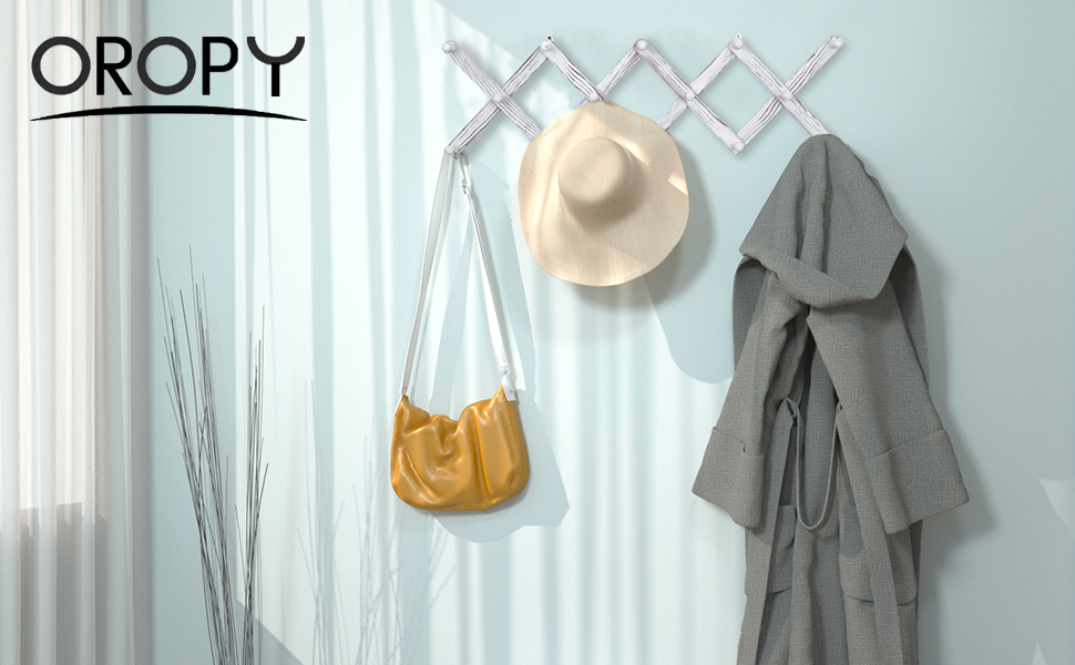 Bolsos Toallas Perchero de acorde/ón expandible con 14 Ganchos OROPY Perchas de Madera Sombreros Tazas,Color Blanco r/ústico para Ropa