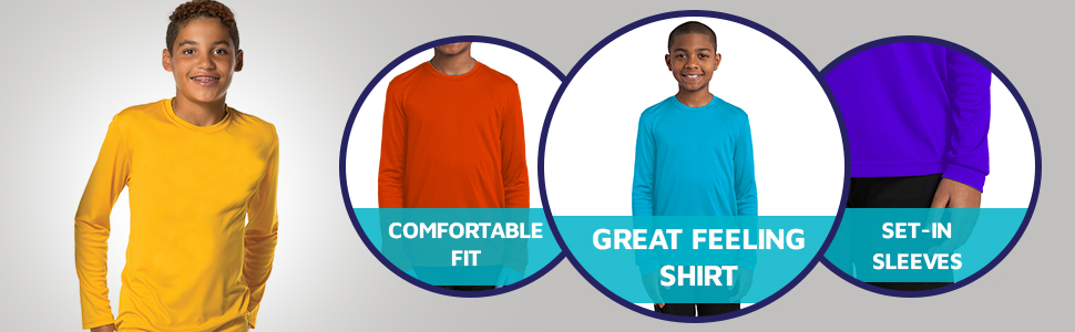 Dri-Wick Youth Sport Performance Moisture Wicking Athletic Long Sleeve Shirt