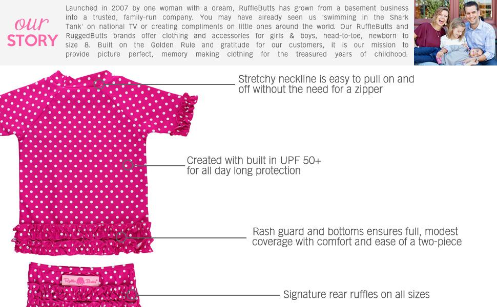 RuffleButts Two Piece UPF 50+ Rash Guard Swimsuits