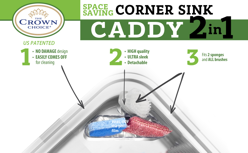 Corner sink caddy sponge brush holder