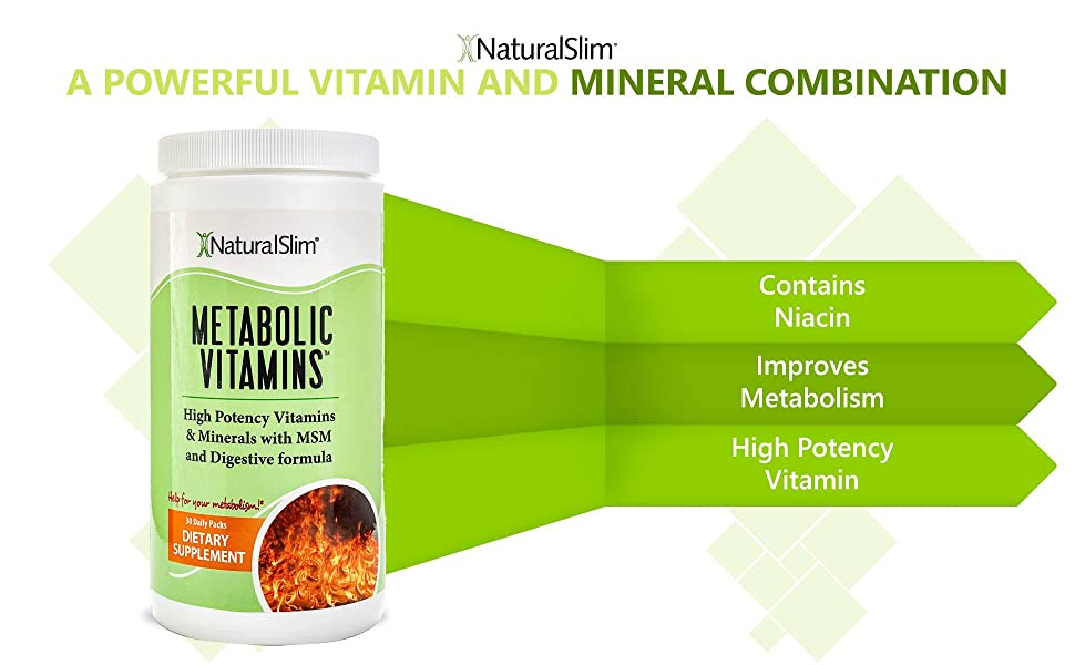 NaturalSlim Metabolic Vitamins, Formulated by Award Winning Metabolism and Weight Loss Specialist- High Potency Vitamins and Minerals with MSM and ...