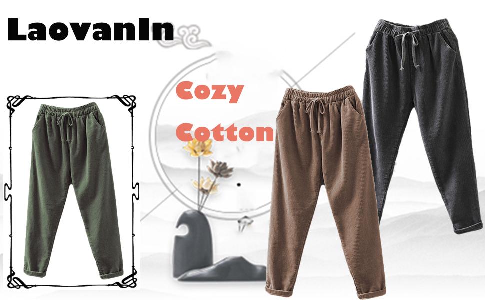 Amazon Com Laovanin Pantalones De Algodon De Pana Para Mujer Con Cintura Elastica Y Pantalones Casuales Comodos Clothing