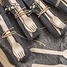 catering, wooden utensils, cutlery set, party, bridal, baby shower, event