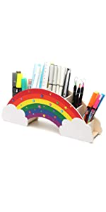 EXERZ Desk Organiser Rainbow with Star Stickers/ Desk Tidy