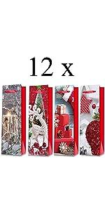 Borse di Carta per Doni di Natale Busta Regalo per Bottiglie in 4 Designs 12 Pezzi 12 Sacchetto Regalo Vino Compleanno e Cene