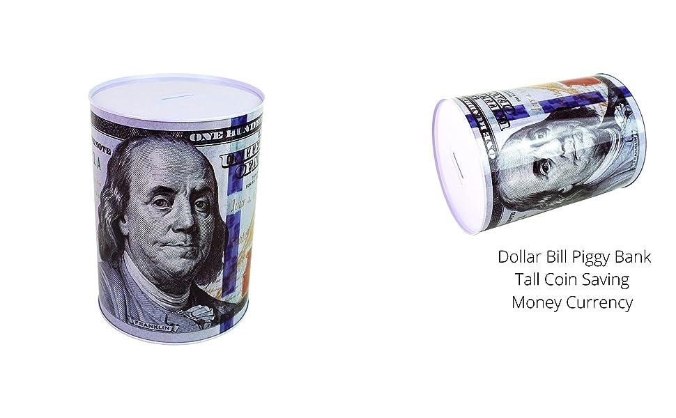 "Dollar Bill Piggy Bank 8.5"" Tall Coin Saving Money Currency Benjamin Franklin C Note Tin Can"