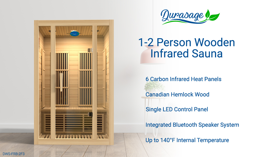 2 person canadian hemlock wooden infrared sauna for in home spa