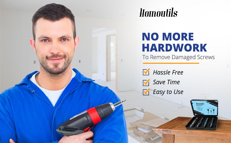 Homoutils, Screw extractor, screw extractor kit, screw extractor set, diy tools, tools, screws