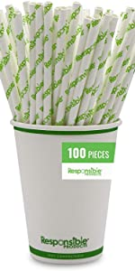 100 Qty 8 Inch Paper Straw