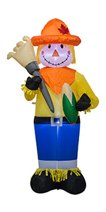 AJY 6 FT Fall Thanksgiving Harvest Inflatable Scarecrow Holding Corn