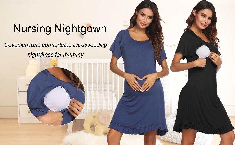 Ekouaer Women's Nursing Nightgown Labor Delivery Gown Maternity Sleepwear Breastfeeding Night Dress