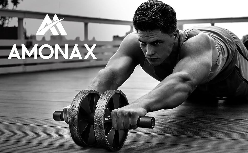 Amonax - Rodillo de rueda para abdominales con alfombrilla grande para ejercitar abdominales, doble rueda con modos de entrenamiento de fuerza dual en el gimnasio en casa: Amazon.es: Deportes y aire libre