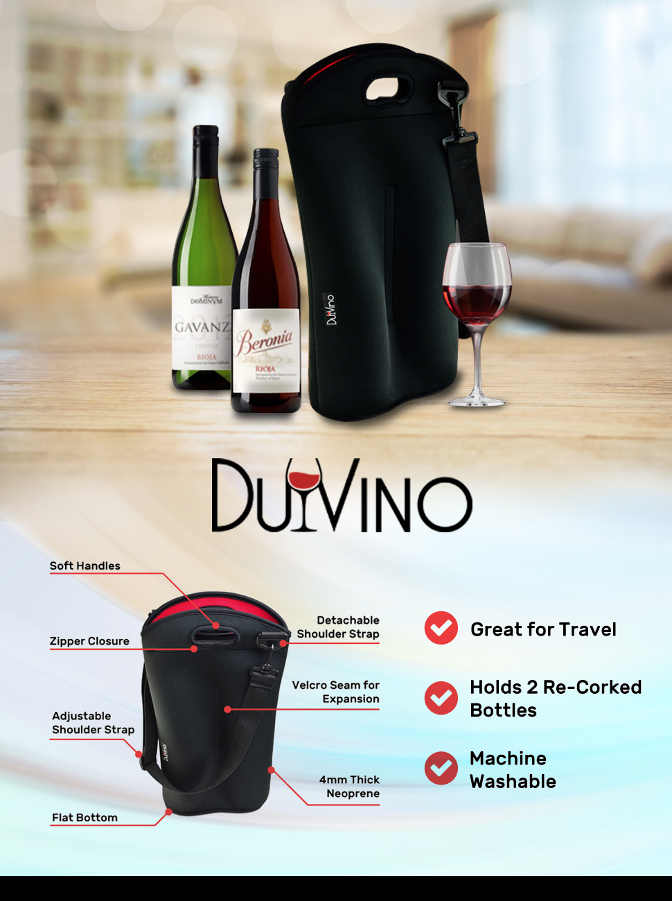 Amazon Com 2 Bottle Wine Carrier Travel Bag Thick Insulating Neoprene Wine Tote Expandable 2 Bottle Taller Design Zipper Closes Over Corked Bottles Adjustable Shoulder Strap Kitchen Dining