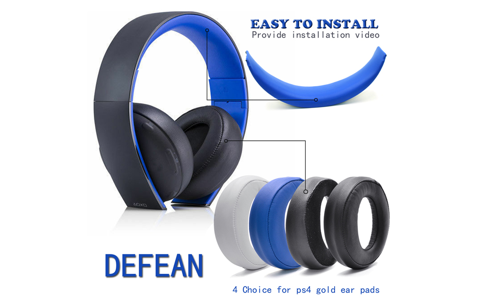 PS3 Geekria Earpad Replacement for Playstation Gold Wireless//Sony PS4 Headband Cushion//Repair Parts Suit PSV Gold Wireless Headphone Ear Pad and Headband Pad//Ear Cushion Blue//Blue