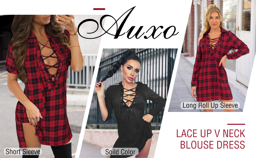 Women Check Mini Shirt Dress Ladies Casual Long Sleeve Plaid Lace Up Tops Blouse