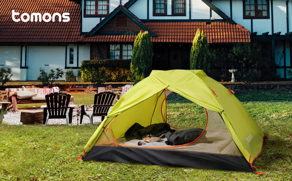 Tomons Tents 2-3 Person Camping Tent Waterproof Climbing Super Wide for 3 Man Lightweight and Travel Riding Double Door Backpacking Tent for Outdoors Hiking