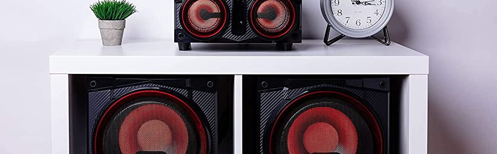 """Home Party Theater Audio System Dual 8"""" Woofers Speakers, Bluetooth, Media Player, FM Radio, USB/SD"""