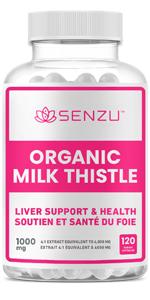 Senzu Organic Milk Thistle Extract Liver Support Health Detox Extrait de chardon-Marie biologique