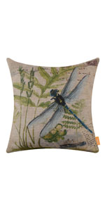 LINKWELL 45x45cm Retro Vintage Green Paris Dragonfly Pillow Cover