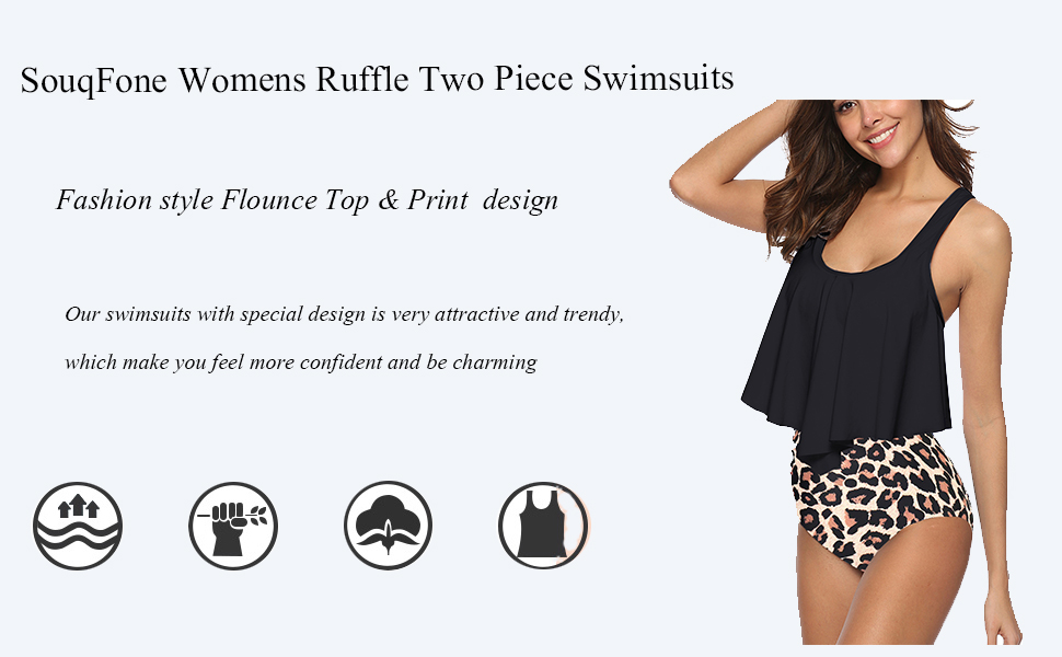 Swimsuits for Women Two Piece Bathing Suits Ruffled Flounce Top with High Waisted Bottom Bikini Set