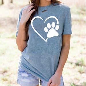 Dog Love Heart Love Beat  Funny Printed T shirt