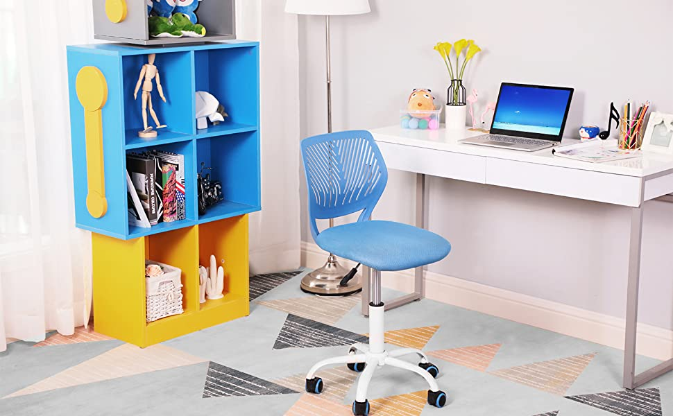 Terrific Greenforest Desk Chair For Kids Teens Office Chair With Low Back Armless Adjustable Swivel Chair Blue Unemploymentrelief Wooden Chair Designs For Living Room Unemploymentrelieforg