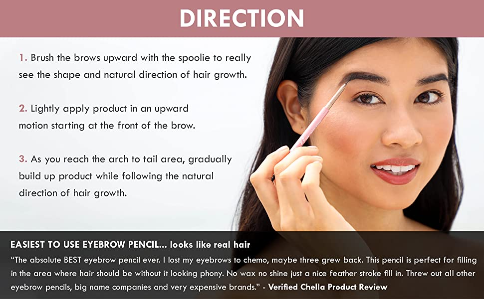 direction brush hair apply brow tail hair eyebrow vegan cruelty free recyclable