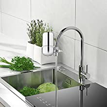 Kowela Faucet Water Filter with 8 Layer Purification Suitable for Most Taps Fluoride Home Kitchen Healthy Drinking Water Filter Tap Water Purifier with Ceramics Helps to Remove Heavy Metals