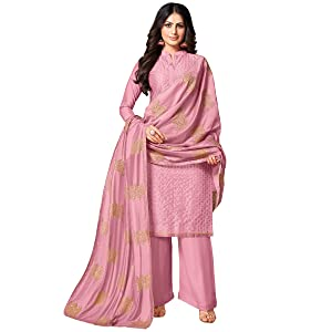 Rajnandini Women's Cotton Embroidered Semi-Stitched Salwar Suit Material With Embroidered Dupatta