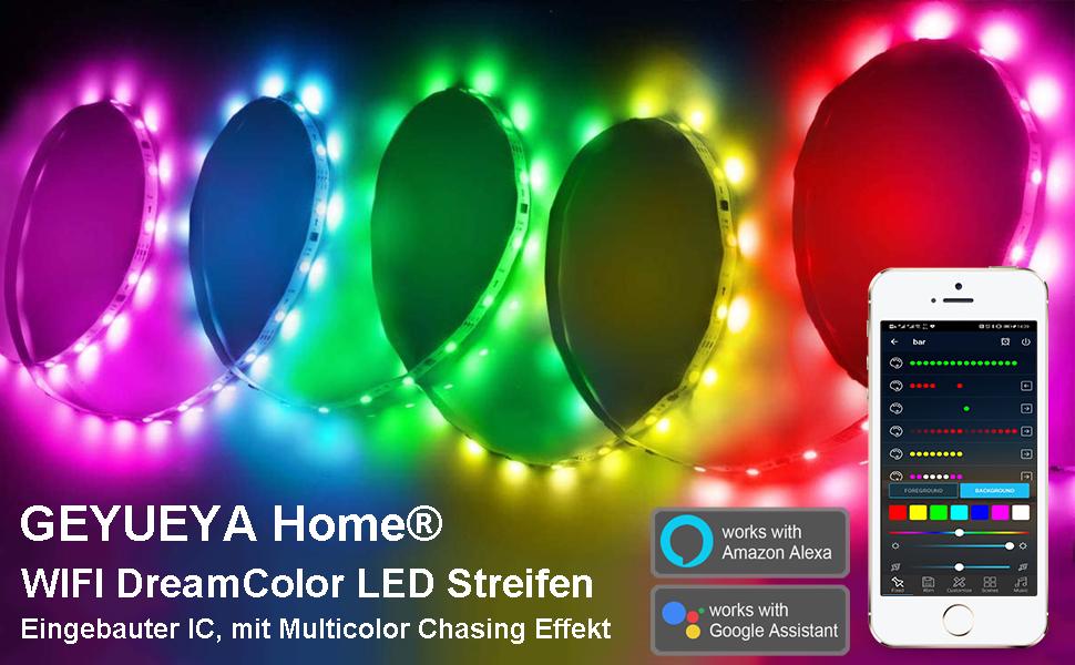 WiFi Dreamcolor LED Strip mit Multicolor Chasing Effekt