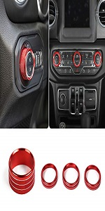 Headlight Switch amp; Air Conditioning Knob Button Ring for Jeep Wrangler JL JLU 2018-2020
