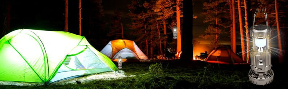 Camping Fan with LED Lantern