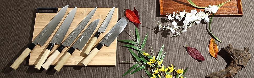 Syosaku Japan Damascus ZA18 69 Layer Octagonal Magnolia Wood Handle Series.
