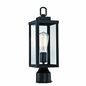 Aluminum Housing Plus Glass Bulb Not Included Matte Black Finish Gruenlich Outdoor Post Lighting Fixture with One E26 Medium Base Max 100W