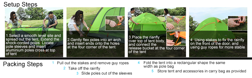 Wantdo 2-3 person Instant tent family camping tent