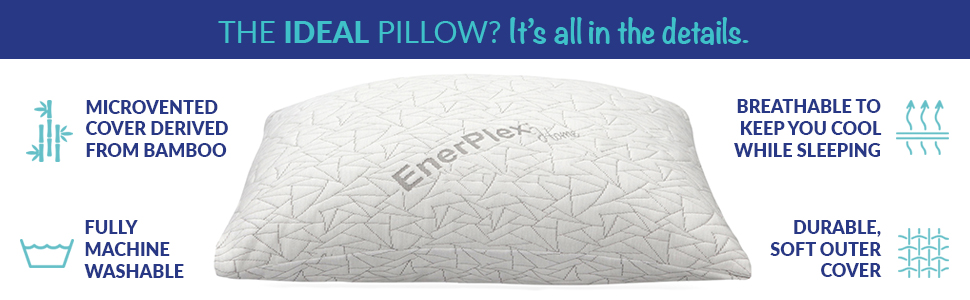 enerplex pollow microvented cover bamboo pillow machine washable breathable stay cool pilow
