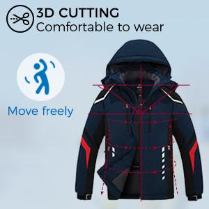 Wantdo Men's Mountain Ski Jacket Waterproof Winter Snow Coat Windproof Outerwear