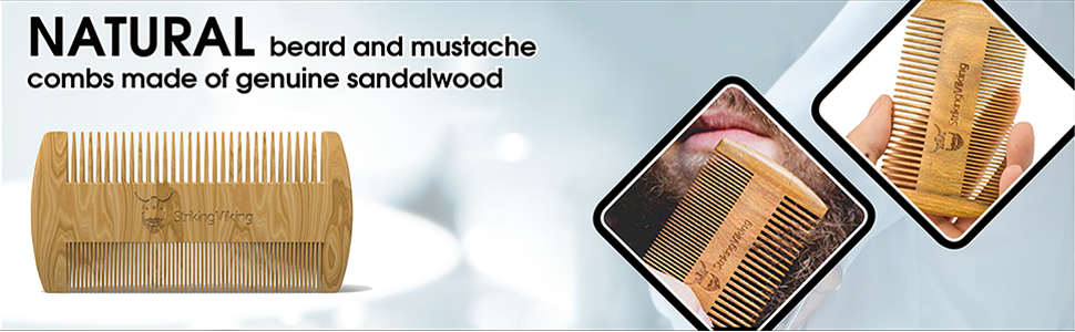 natural beard comb for men grooming and care made of sandalwood
